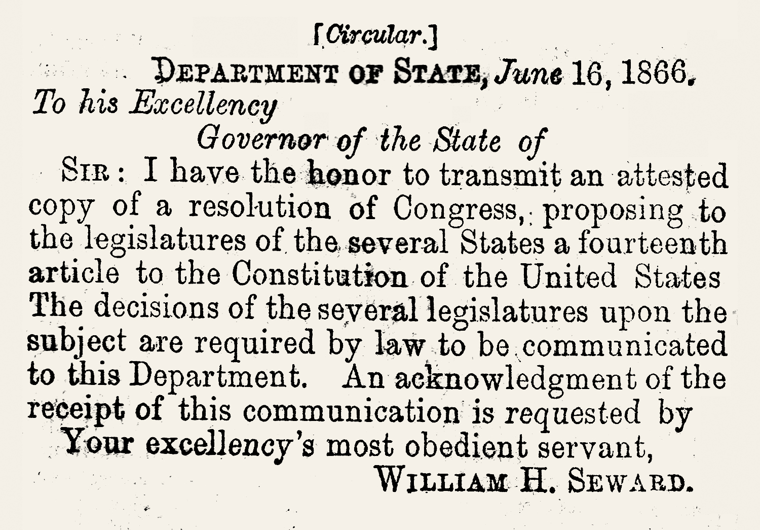 Letter of Transmittal of 14th Amemdment