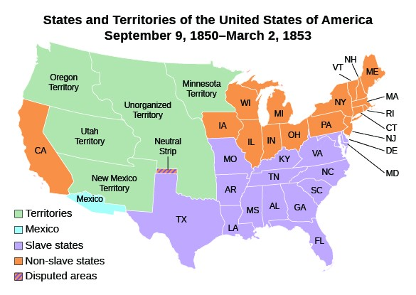 US states territories 1850