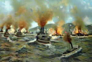 Naval battle in the Spanish-American War