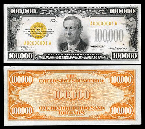 Woodrow Wilson 100k bill