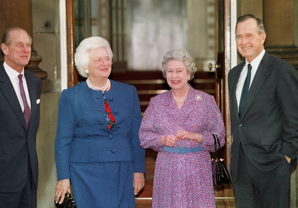 Queen Elizabeth George HW Bush