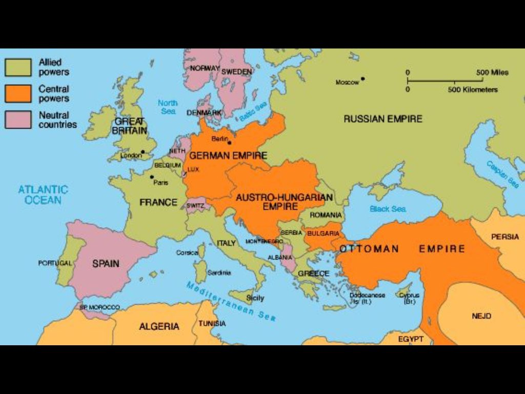 Map of Allied Powers WW1