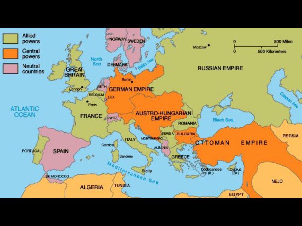 Map of Allied Powers WW1
