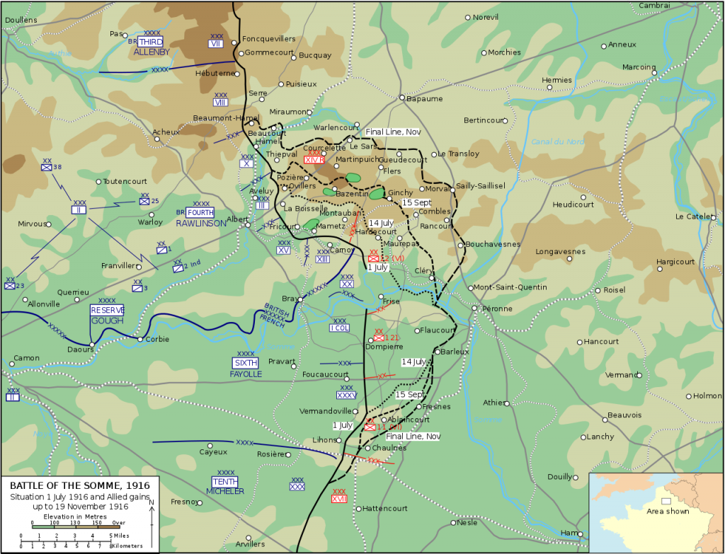 Battle of the Somme map 1916