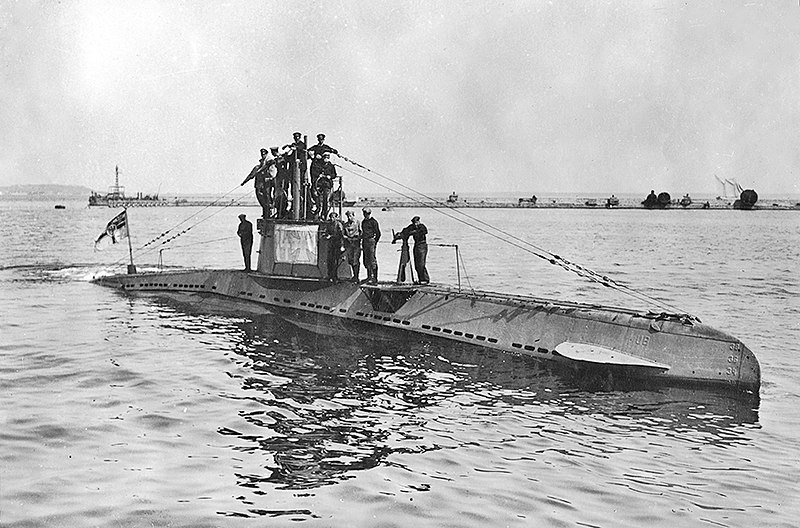 German U-boat with crew