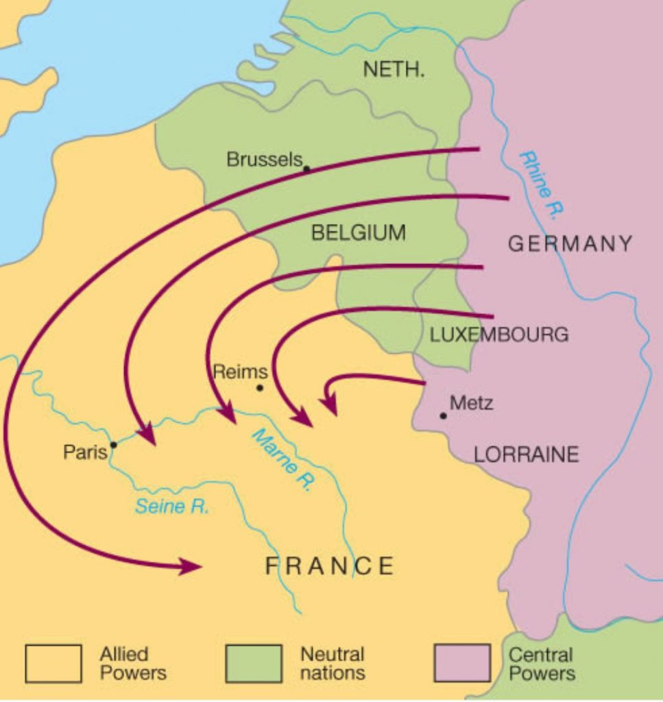 German map of attack WW1