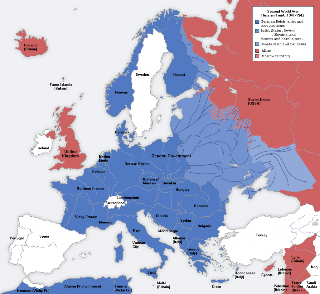 World War 2 map of Europe 1941-1942