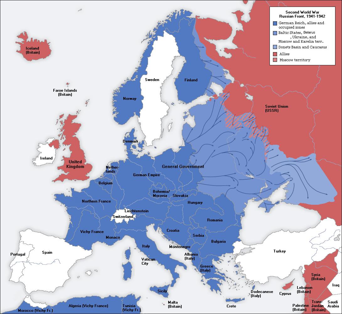 World War 2 map of Europe 1941-1942