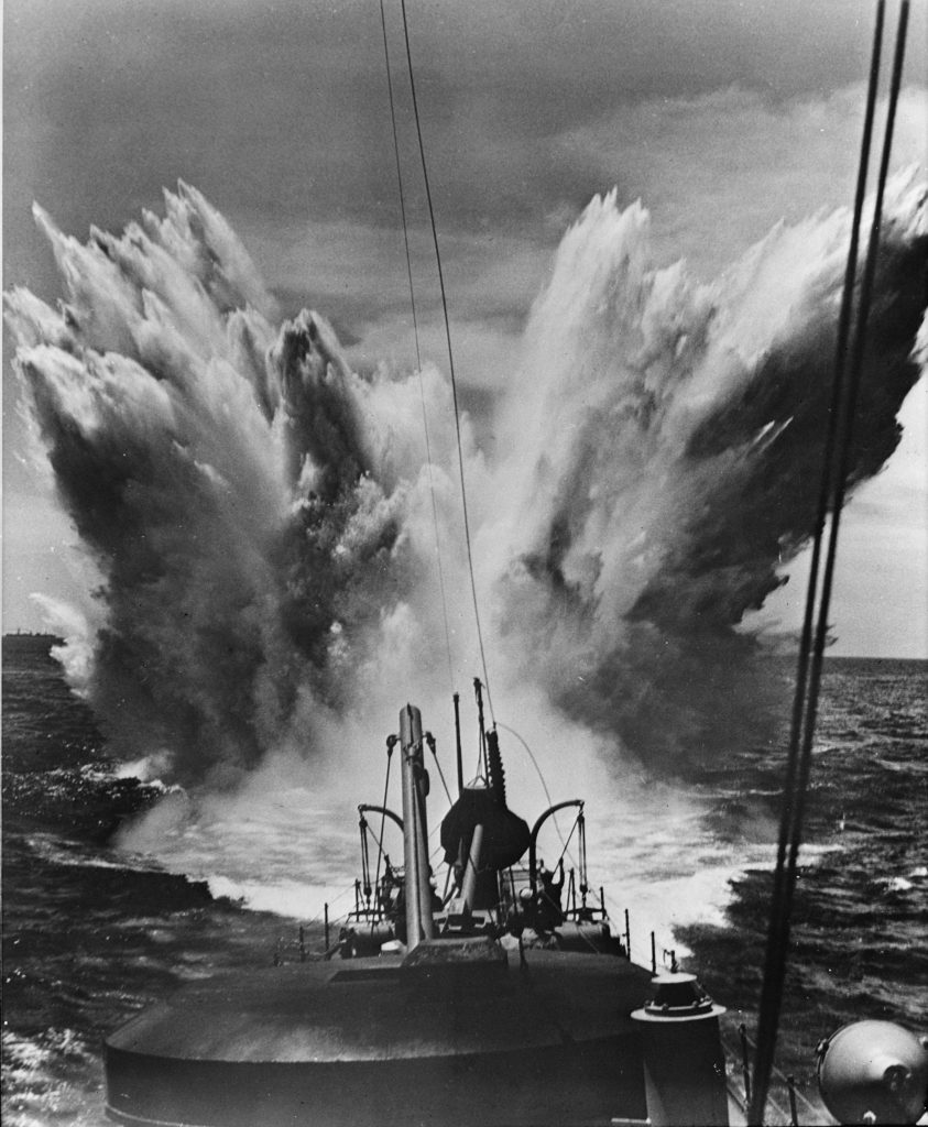 Depth charge explosion - Battle of the Atlantic