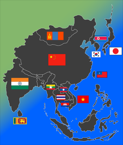flags and maps of Asia