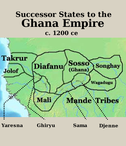 Map of the successor states of the Ghana Empire