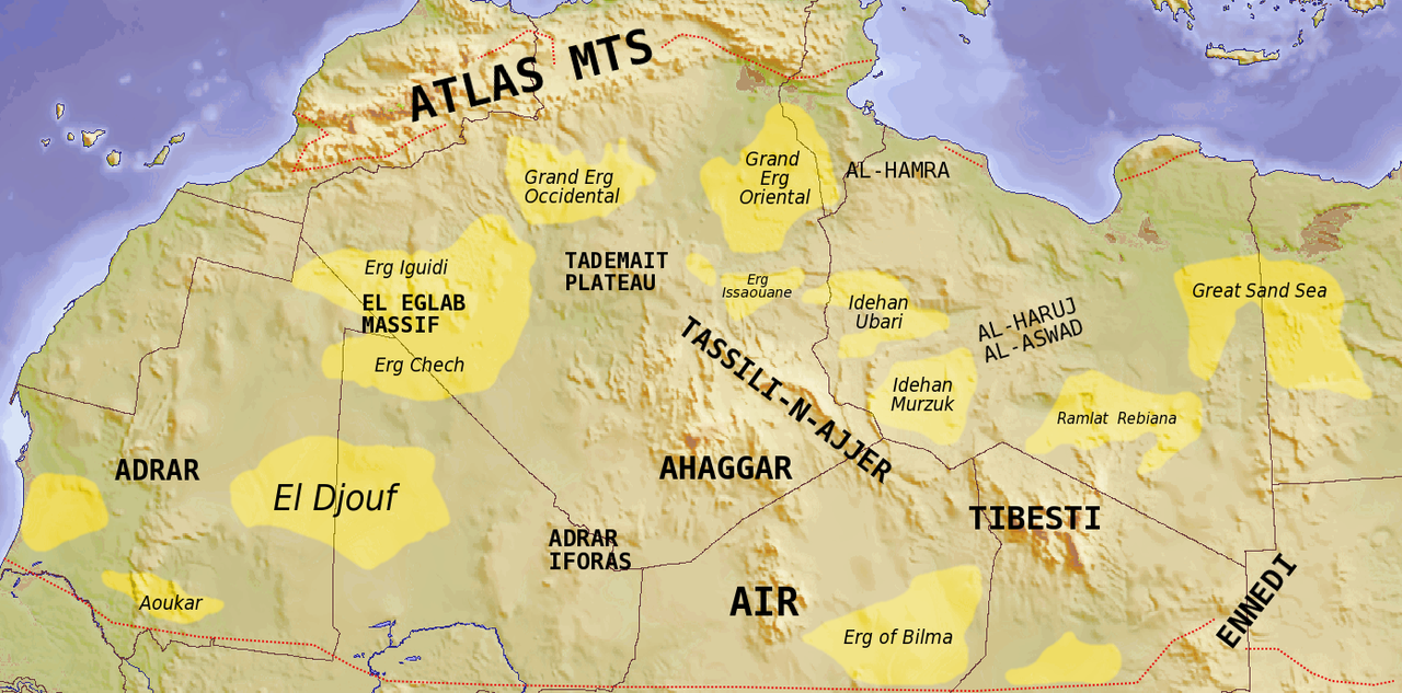 Saharan Topographic Elements Map