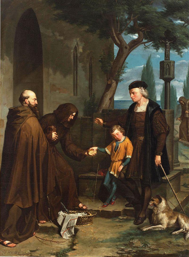 Christopher Columbus At The Gates Of The Monastery Of Santa Maria De La Rabida With His Son Diego