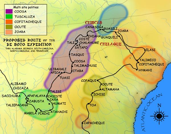 De Soto Expedition Route Map