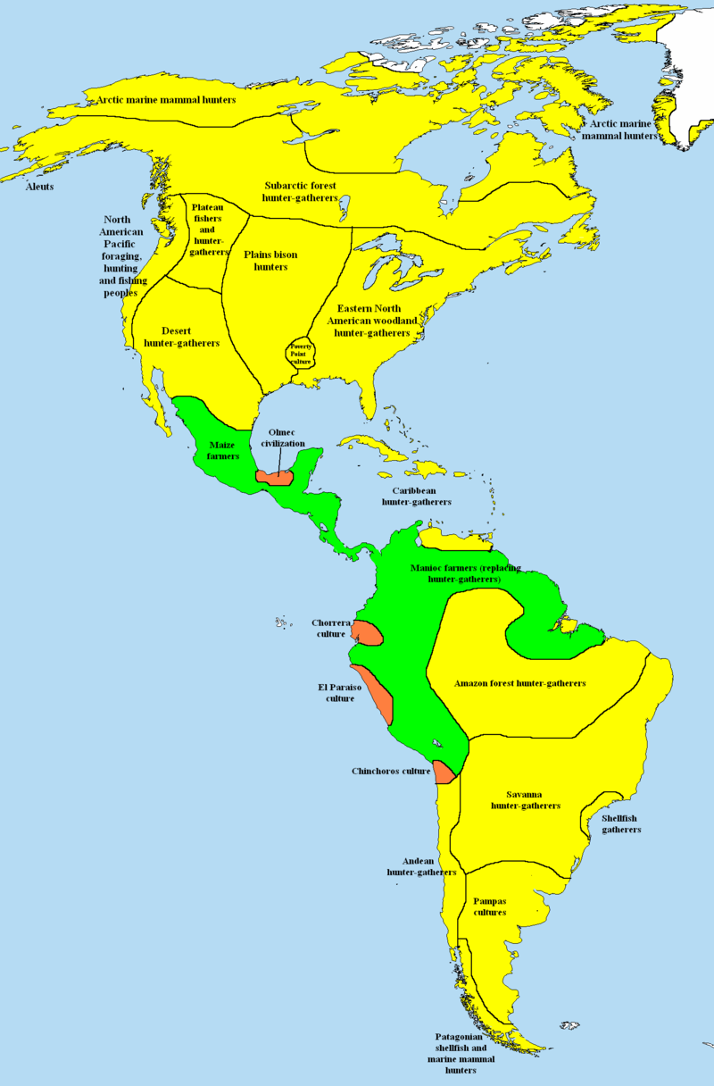 Map Of Subsistence Methods In The Americas