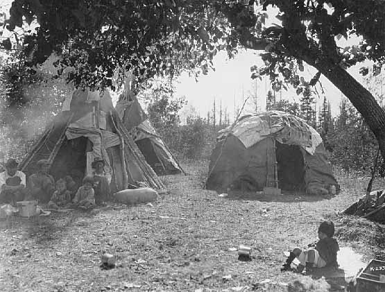 Dakota Style Tipis And Ojibwe Wigwam White Earth Minnesota 1928