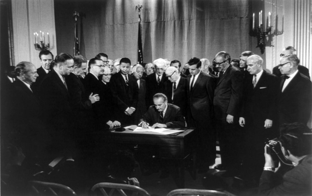 President Johnson Signing The Civil Rights Act