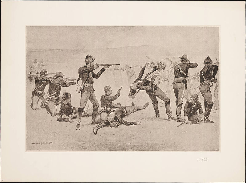 The Opening Of The Fight At Wounded Knee By Frederic Remington
