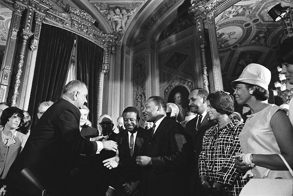 United States President Lyndon B Johnson Martin Luther King Jr And Rosa Parks