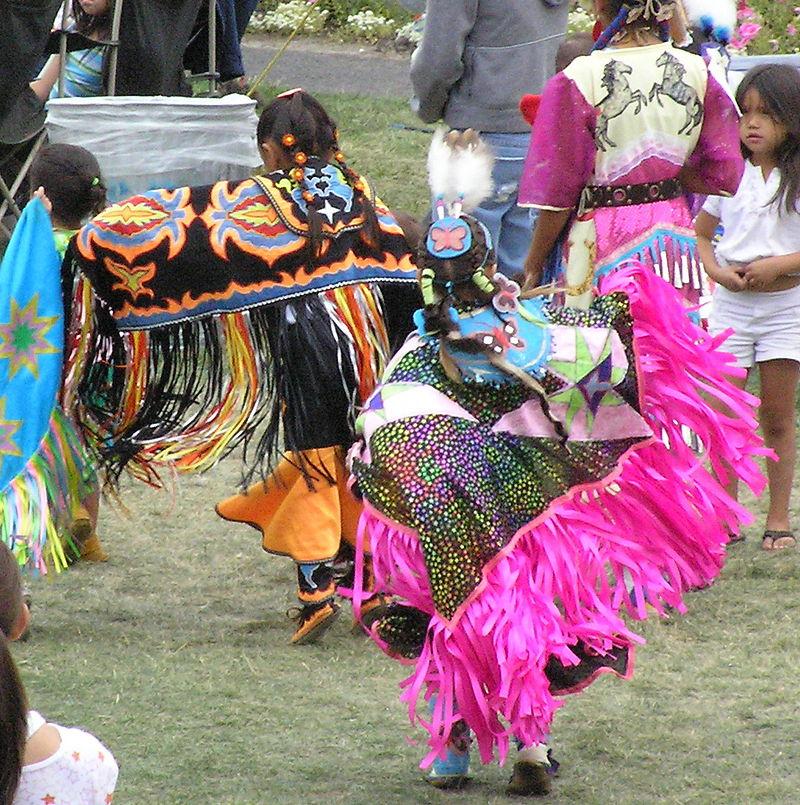 Young Girls Fancy Shawl Dancing At Spokane Powwow