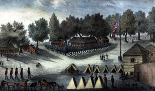 Barracks And Tents At Fort Brooke Near Tampa Bay