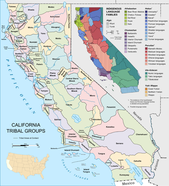 California Tribes And Languages At Contact