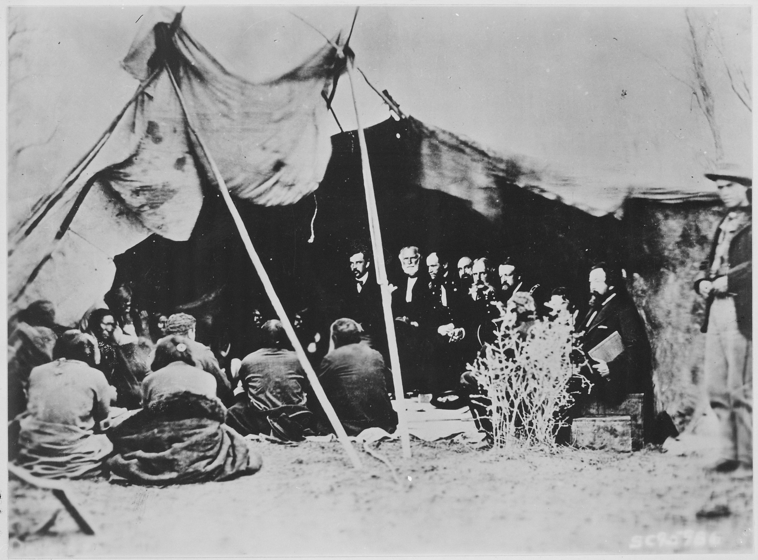General William T Sherman And Commissioners In Council With Indian Chiefs At Fort Laramie