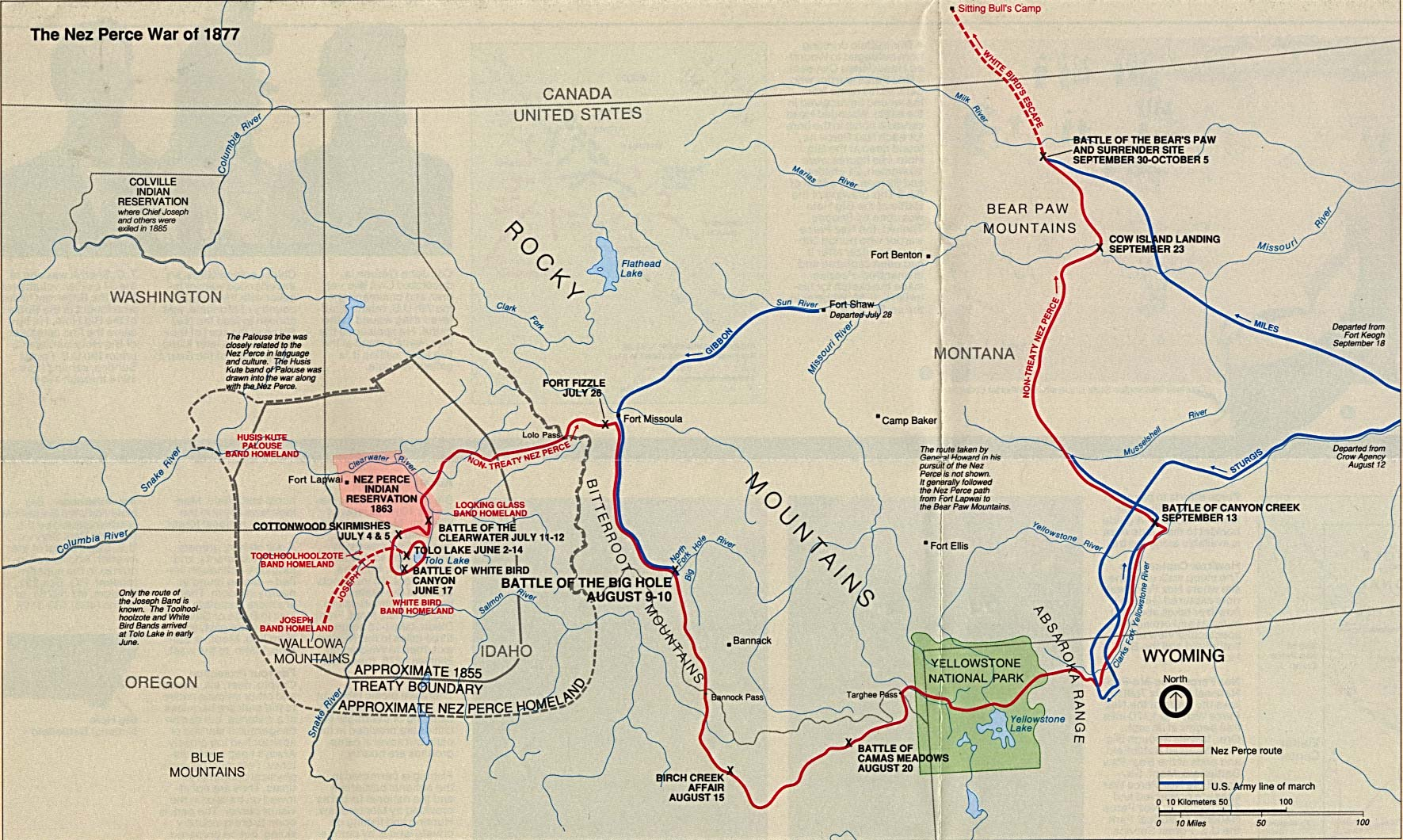 Nez Perce War Battle Map