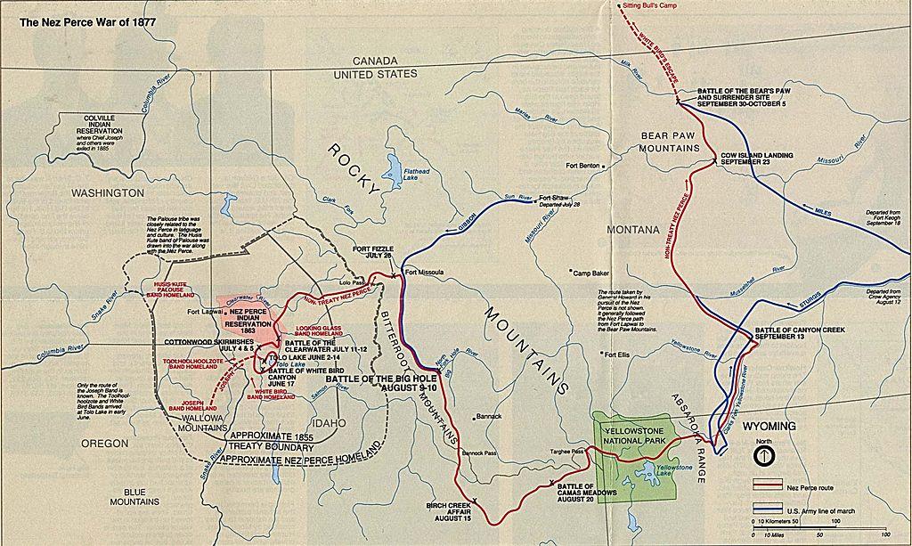 Nez Perce War Battle Map