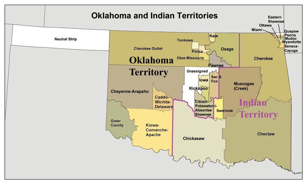 Oklahoma And Indian Territory Map