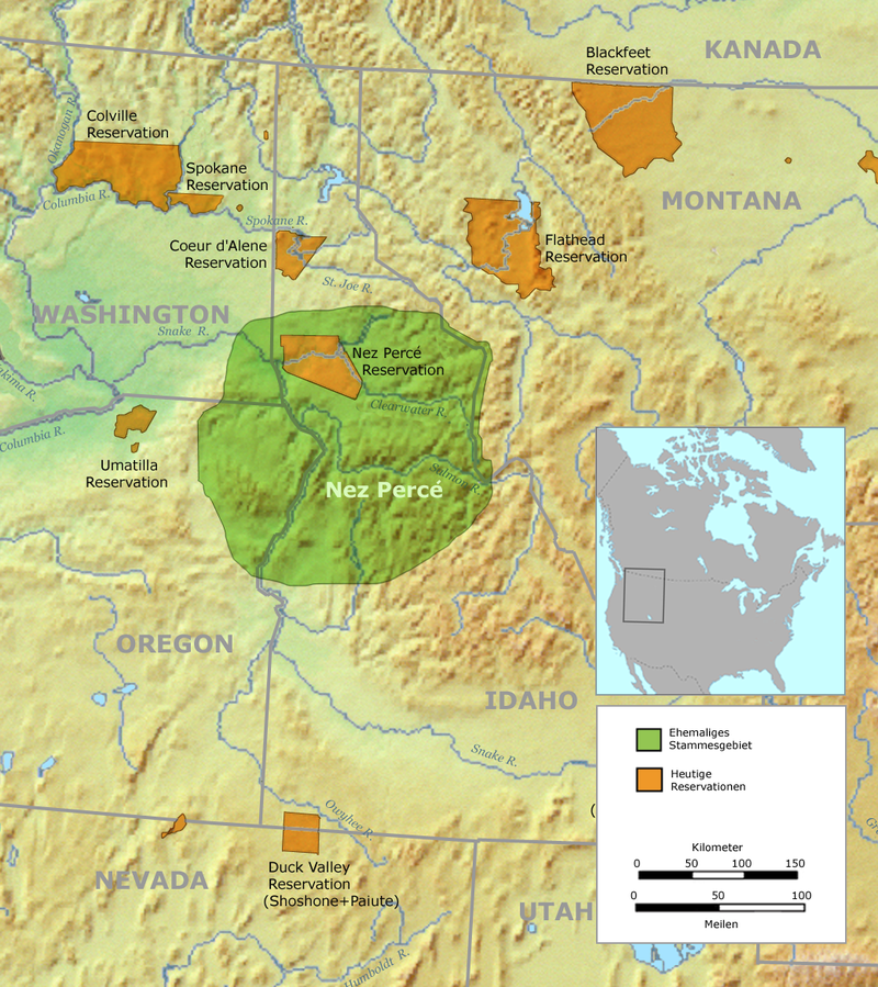 Original Nez Perce Territory Is Green Color Area And The Reduced Reservation Is Brown Color Area