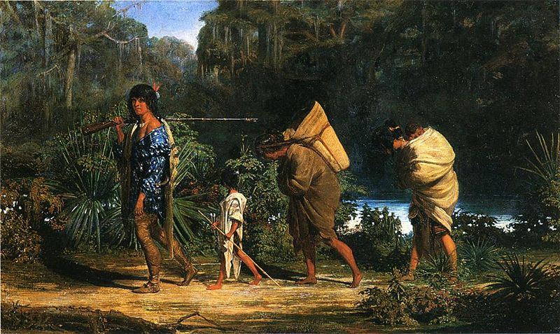 Louisiana Indians Walking Along A Bayou