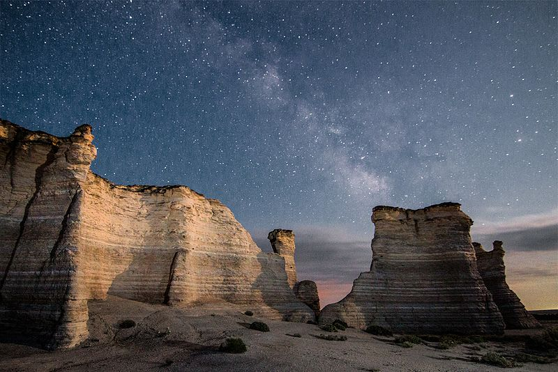 Milky Way Over Monument Rocks Kansas Usa