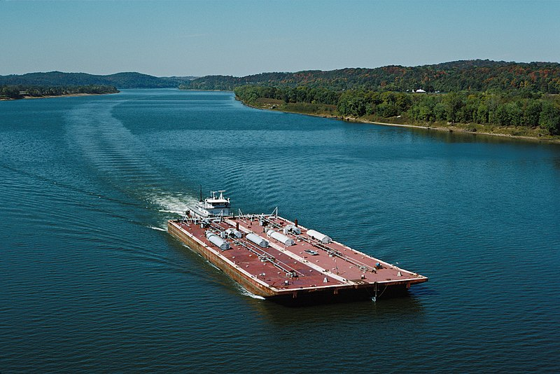 Towboat Ben Mccool Upbound On Ohio River With Two Tank Barges