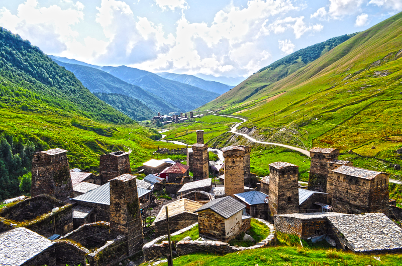 Ushguli Towers In Svaneti Georgia