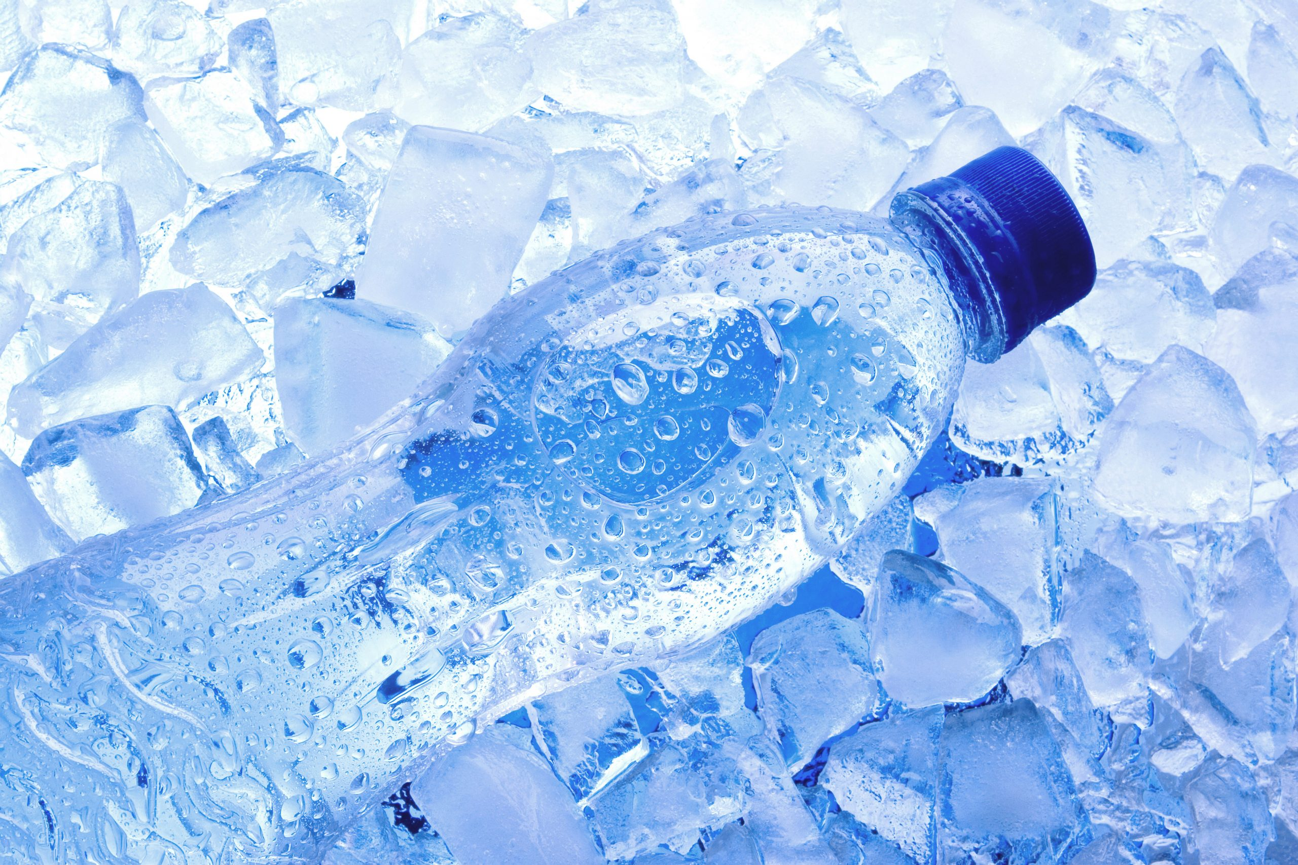 water bottle with ice